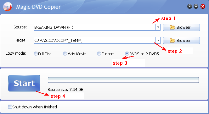 steps to copy DVD9 to DVD5