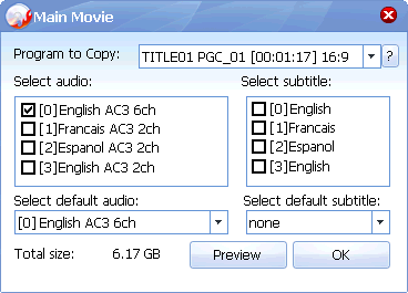 Choose main movie's audios and subtitles