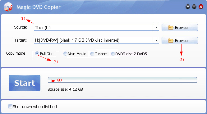 copy DVD Thor movie to other video format with Magic DVD Copier