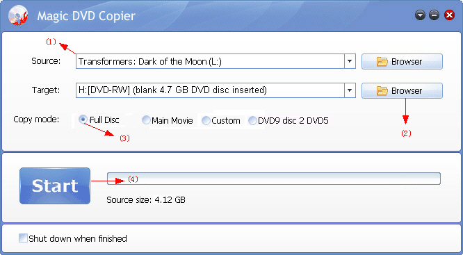 copy DVD Transformers: Dark of the Moon to a new blank DVD disc with Magic DVD Copier