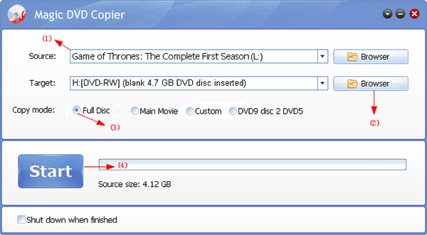 how to copy Game of Thrones The Complete First Season DVD