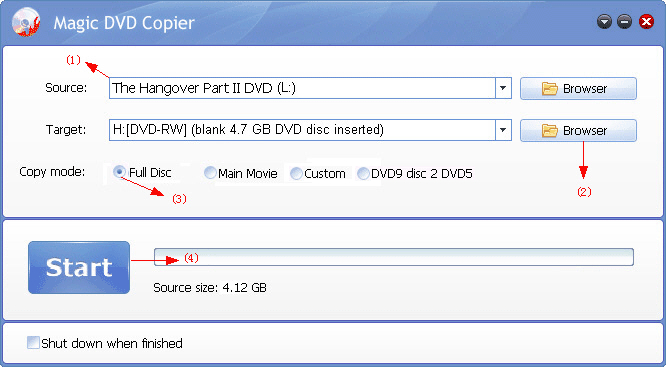 copy The Hangover Part II DVD to a new blank dvd disc with Magic DVD Copier