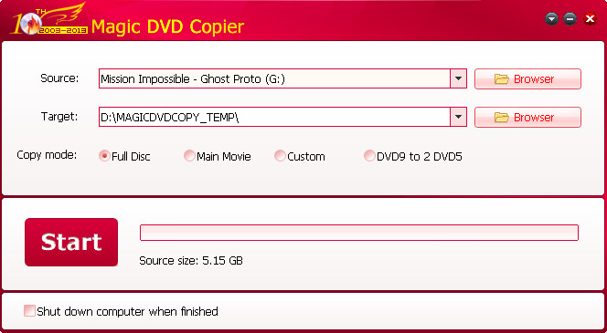 magic dvd copier interface