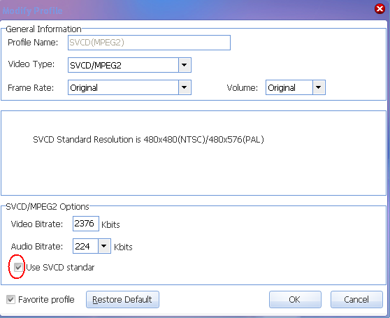 modify profile --- SVCD standard resolution