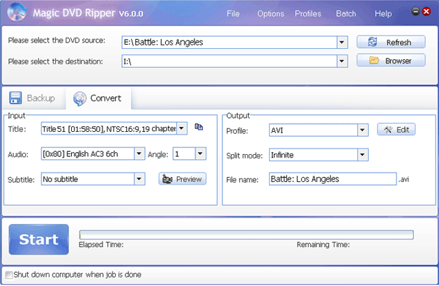 rip Battle: Los Angeles DVD to AVI format with Magic DVD Ripper