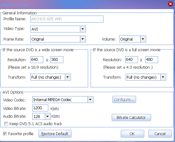 rip DVD to ARCHOS --- modify profile