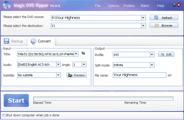 rip DVD Your Highness movie to other video formats with Magic DVD Ripper