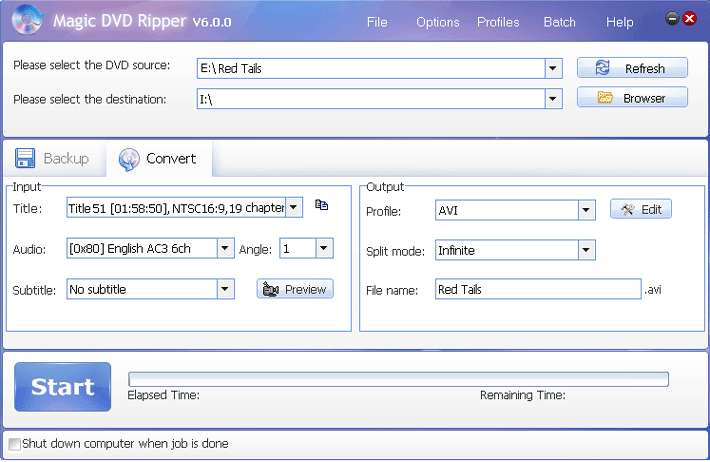 rip Red Tails dvd with Magic DVD ripper