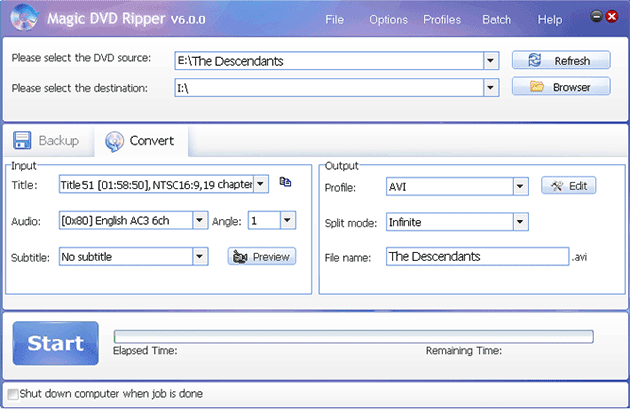 rip The Descendants DVD movie to AVI with Magic DVD Ripper