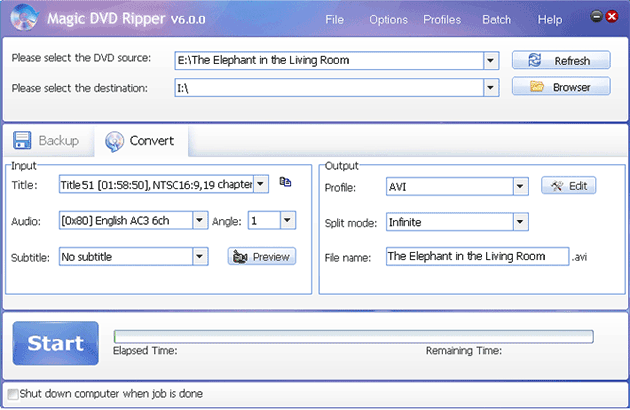rip The Elephant in the Living Room DVD movie with Magic DVD Ripper